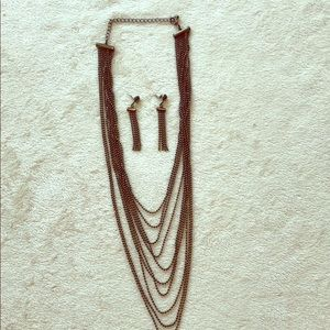 Multi strand gunmetal grey necklace & earrings set
